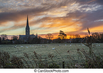Winter frosty sunrise landscape Salisbury cathedral city in...