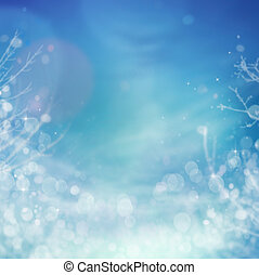 Winter frozen background. Winter Christmas concept with tree branches, snow and bokeh lights.