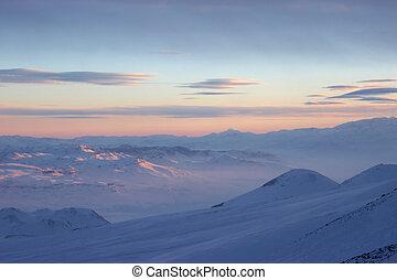Winter frozen cloudscape, Mount Erciyes view, Turkey