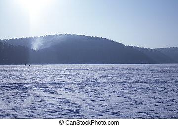 Winter frozen lake