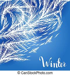Winter frozen window background.