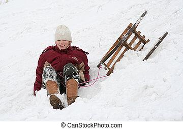 Winter fun - A young girl falling