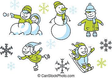 Winter Fun Set - A cartoon set of simple cartoon children...