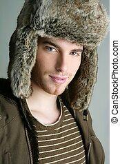 winter fur hat portrait of fashion young man