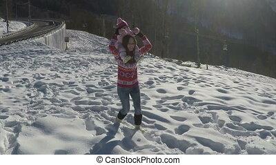 winter., góry, powolny, córka, jej, młody, ruch, macierz grająca, szczęśliwy
