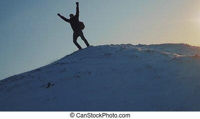 winter., gagner, sommet, neige, problème, montagne, hiver, ...