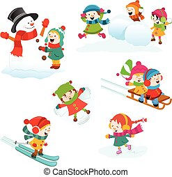 Children enjoying winter games.