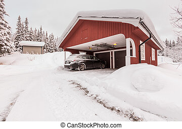 winter garage - Midwinter light in the north district of...
