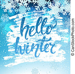 winter, geeting, card., vector., hallo