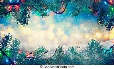 winter, gefrorenes, unscharfer hintergrund, tisch., weihnachten, design.