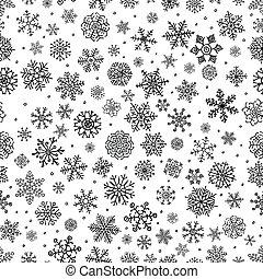 winter, gekritzel, schnee, seamless, flocken, hintergrund