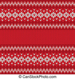 Winter Geometric Ornament Seamless Pattern in Red and White from Knitted Fabric with Copy Space for Merry Christmas or Happy New Year