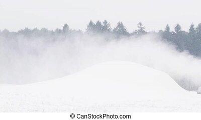 Winter, gewehr, Schnee, Hügel, draußen, Machen