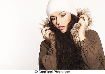 Winter Girl - beautiful brunette with hat posing on white ...