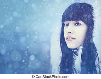 Winter girl. Beauty female portrait with copy space