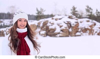 Winter girl. Copyspace