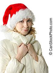 Winter girl in Santa cap