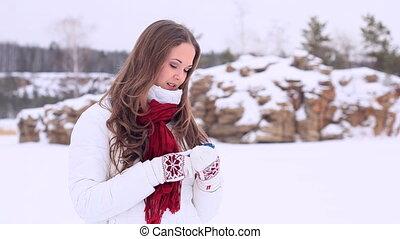 Winter Girl. Phone. Still
