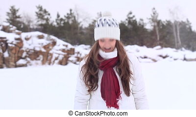 Winter Girl. Snowball! - Beautiful girl in winter clothes...