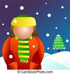 winter girl - snowing