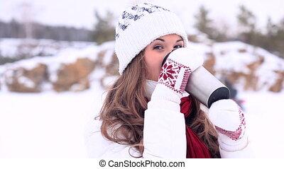 Winter Girl. Tea. Moving Background