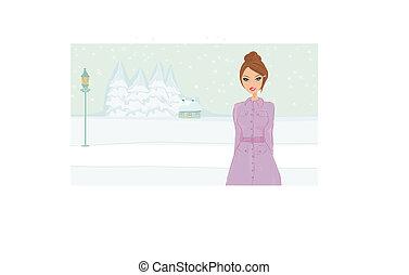 winter girl - vector illustration