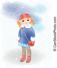 Winter girl with bag  in vintage coat and knitted hat. Fashion girl's clothing. Watercolor style.