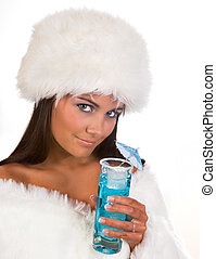 Winter girl with blue cocktail