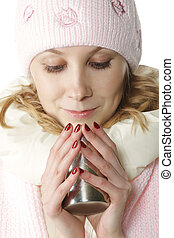 Winter girl with cup