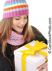 Winter girl with gift box