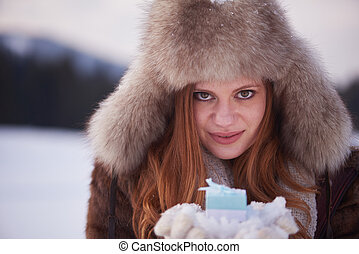 winter girl with gift
