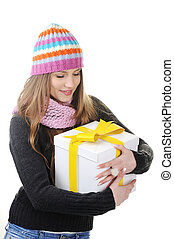 Winter girl with present box, gift