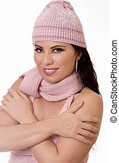Winter Glow - female in winter knitwear - Pretty girl in...