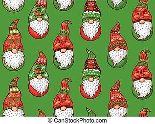 Winter gnomes seamless pattern