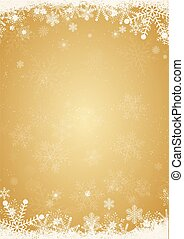 Winter gold christmas background with snowflake border