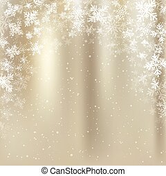 Winter golden background christmas made of snowflakes and snow with blank copy space for your text