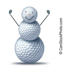 Winter golfing and holiday golf symbol represented by golf...