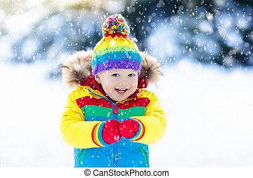 winter., gosses, neige, enfant, outdoors., jouer