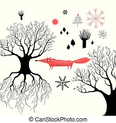 Winter graphics with a red fox