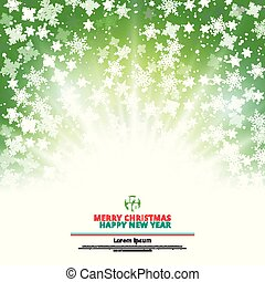 Winter green background christmas made of snowflakes and snow with lighting blank copy space for your text