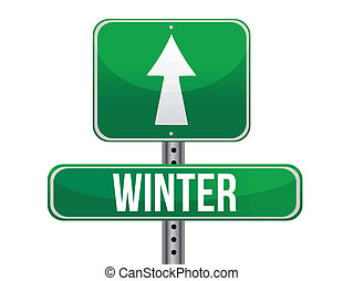 winter green traffic road sign