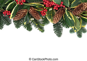 Winter Greenery Border - Christmas and winter background...