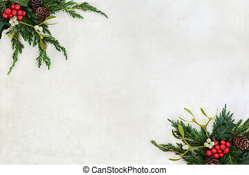 Winter Greenery Border - Winter and christmas background...