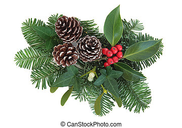 Winter Greenery - Christmas and winter greenery with holly,...