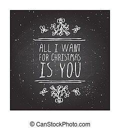 Winter greeting card with text on chalkboard background -...