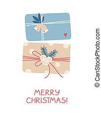 Xmas and New Year gifts on white background.