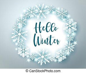 Winter greeting in circle frame vector banner template. Hello winter text with snowflakes and star elements.
