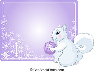 Winter Greetings - Place card with Illustration of fat ...