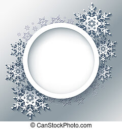 Winter grey background, frame with 3d snowflakes