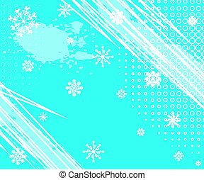 Winter Grunge Background with Halftone Dots and white snowflakes. Vector Illustration